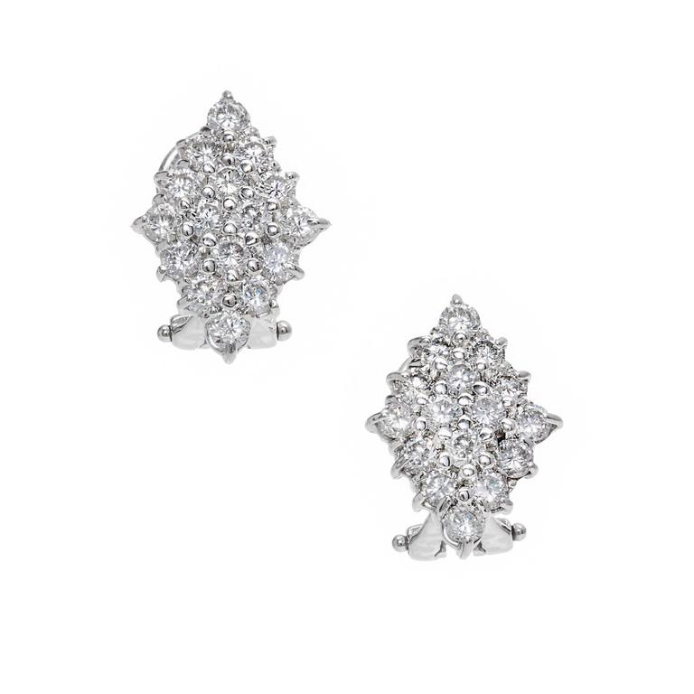 Diamond Marquises Round Cluster Gold Earrings For Sale 1