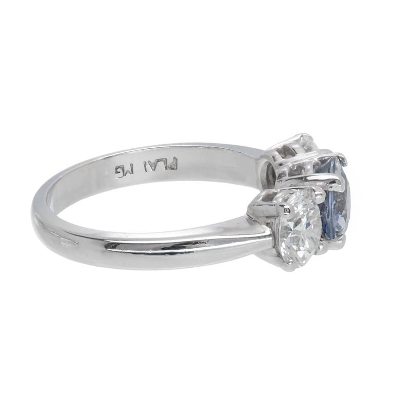 Peter Suchy GIA Certified 1.05 Carat Sapphire Diamond Engagement Ring For Sale 1