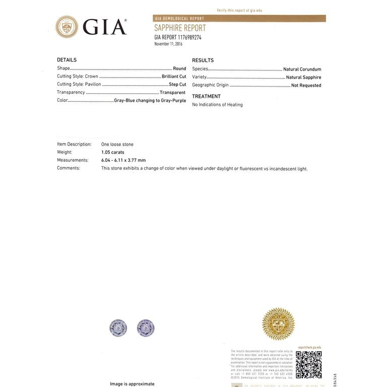 Peter Suchy GIA Certified 1.05 Carat Sapphire Diamond Engagement Ring For Sale 3