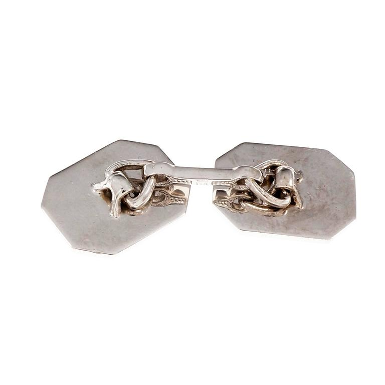 octagonal double sided white gold cufflinks for sale at