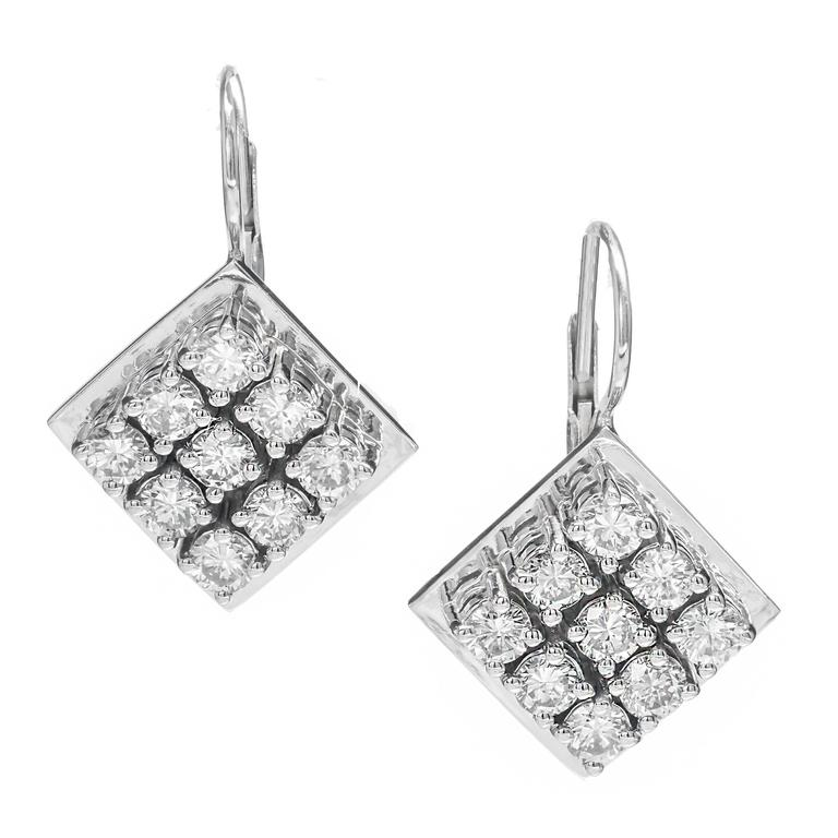 Diamond Square Cluster White Gold Euro Wire Tops Dangle Earrings