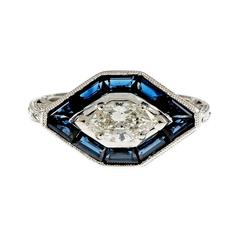GIA Certified .52 Carat Marquise Diamond Baguette Sapphire Halo Engagement Ring