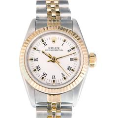Rolex Ladies Yellow Gold Stainless Steel Oyster Perpetual Wristwatch Ref 67193