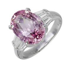 5.28 Carat Purple Pink Natural Sapphire Diamond Platinum Engagement Ring