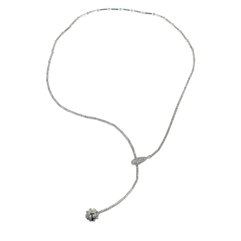 1.50 Carat Pave Diamond Ball Adjustable Gold Drop Necklace