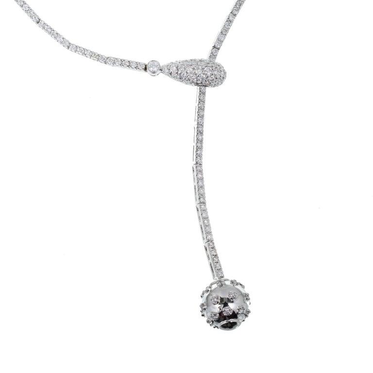 Women's 1.50 Carat Pave Diamond Ball Adjustable Gold Drop Necklace For Sale