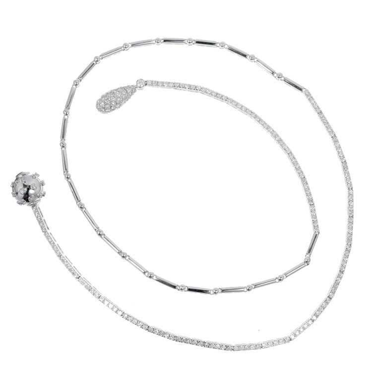 1.50 Carat Pave Diamond Ball Adjustable Gold Drop Necklace For Sale 1
