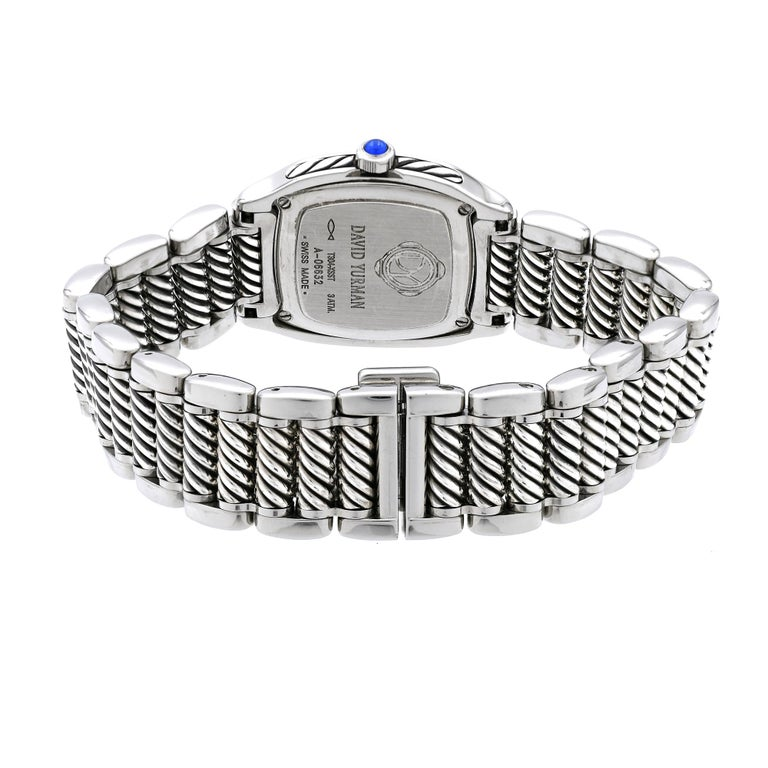 Women's David Yurman Ladies Stainless Steel Diamond Sapphire Thoroughbred Wristwatch For Sale
