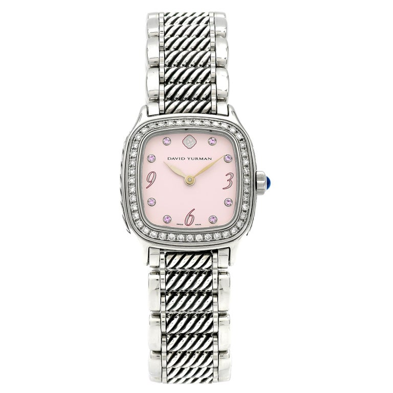 Round Cut David Yurman Ladies Stainless Steel Diamond Sapphire Thoroughbred Wristwatch For Sale