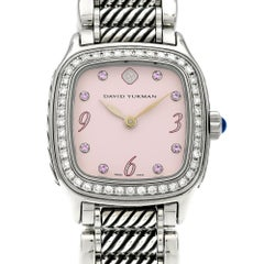 David Yurman Ladies Stainless Steel Diamond Sapphire Thoroughbred Wristwatch