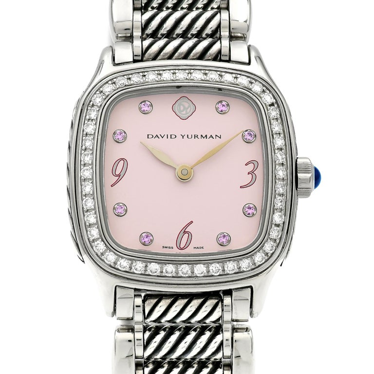 David Yurman Ladies Stainless Steel Diamond Sapphire Thoroughbred Wristwatch For Sale