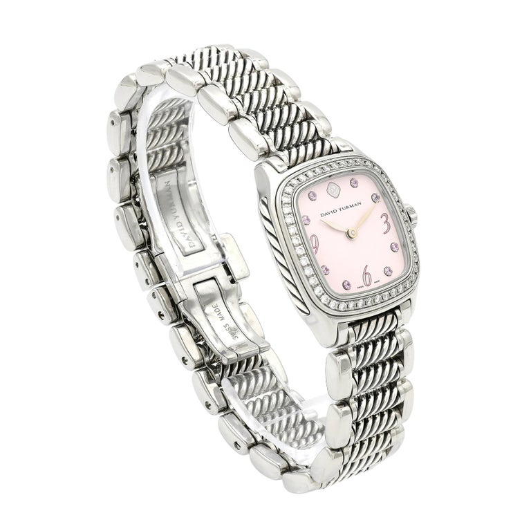 David Yurman Ladies Stainless Steel Diamond Sapphire Thoroughbred Wristwatch For Sale 2