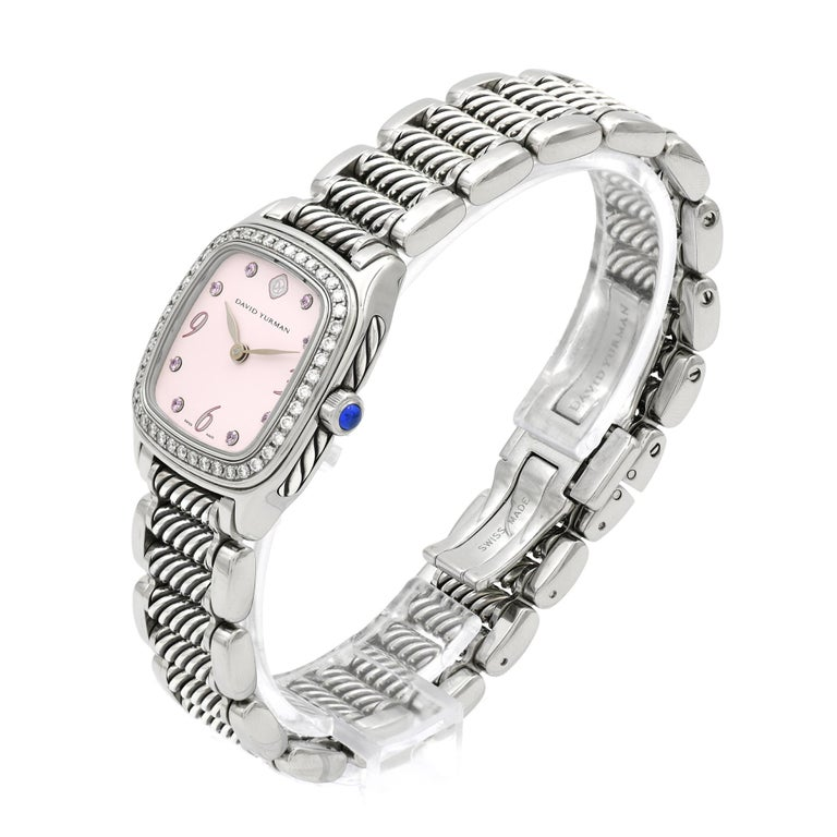 David Yurman Ladies Stainless Steel Diamond Sapphire Thoroughbred Wristwatch In Good Condition For Sale In Stamford, CT