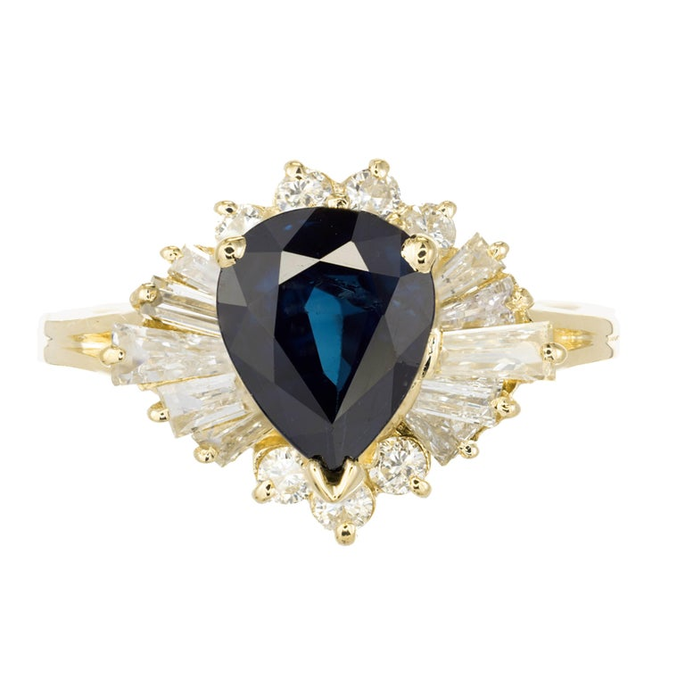 GIA Certified 1.50 Carat Pear Sapphire Diamond Halo Gold Engagement Ring