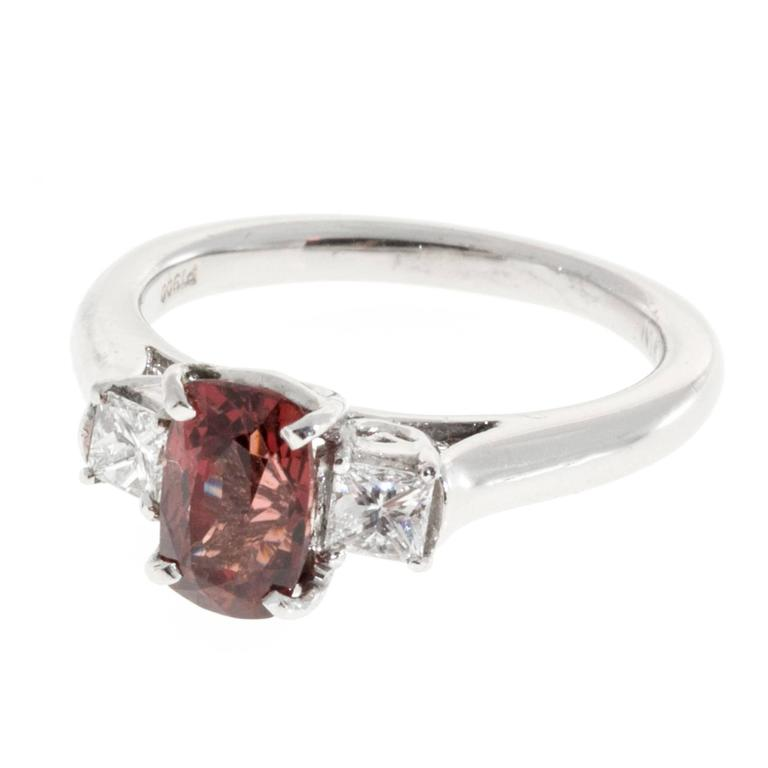 1.37 Carat GIA Cert Red Spinel Diamond Platinum Three Stone Engagement Ring 1
