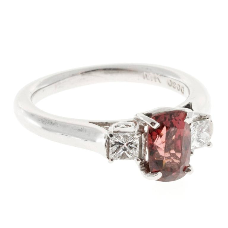 1.37 Carat GIA Cert Red Spinel Diamond Platinum Three Stone Engagement Ring 2