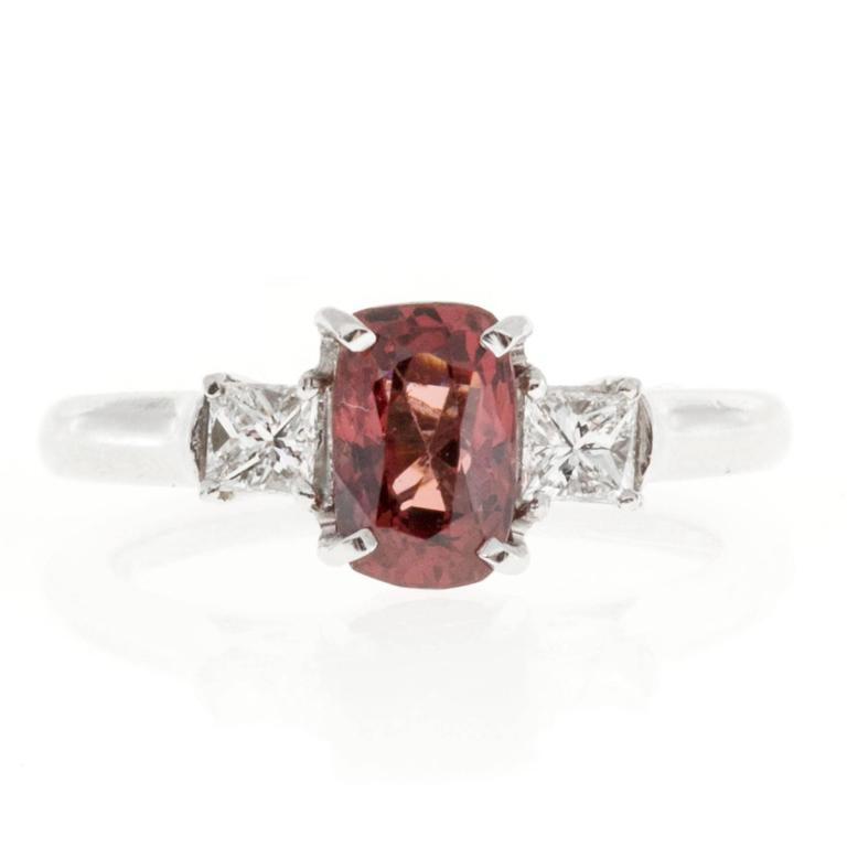 1.37 Carat GIA Cert Red Spinel Diamond Platinum Three Stone Engagement Ring 7