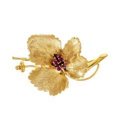 Tiffany & Co. Ruby Leaf Gold Brooch