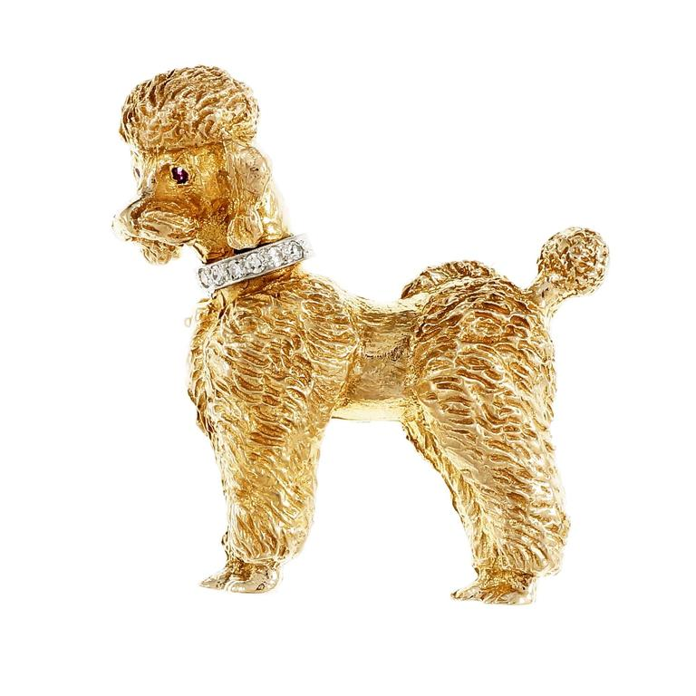 Ruby Diamond Gold Poodle Brooch