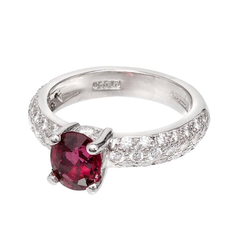 Bright red natural GIA certified Spinel in a beautiful Mondera pave set Platinum Diamond engagement ring.  1 oval purplish red Spinel, approx. total weight 1.59cts, SI, 7.45 x 6.32 x 4.75mm, GIA certificate #1186118061 46 round full cut Diamonds,