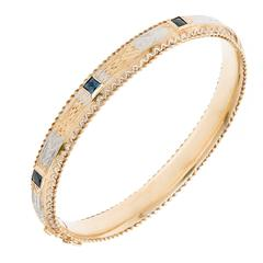 Sapphire Gold Hand Engraved Bangle Bracelet