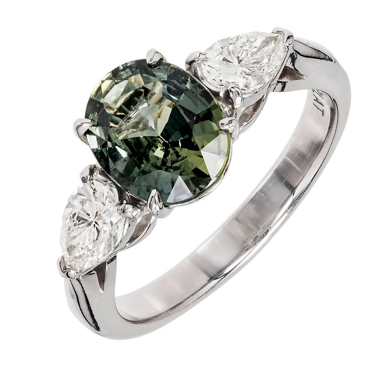Peter Suchy AGL Certified Green Oval Sapphire Diamond Platinum Engagement Ring
