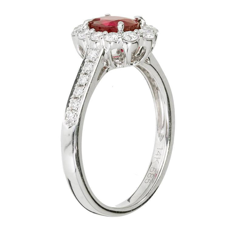 .88 Carat Oval Ruby Diamond Halo Gold Engagement Ring For Sale 1