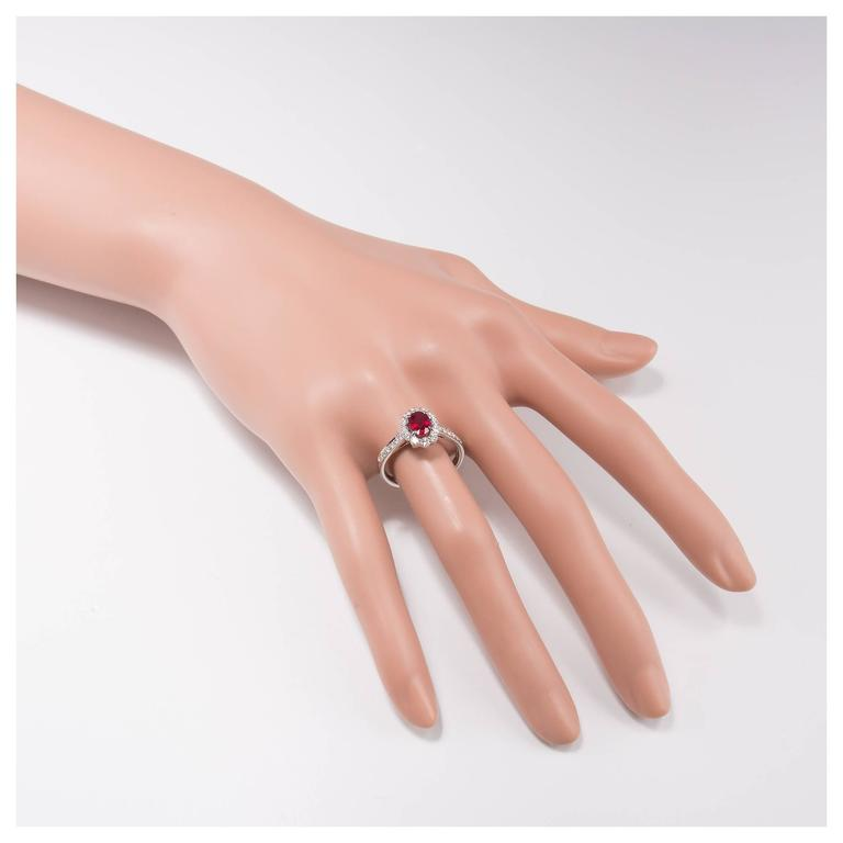 .88 Carat Oval Ruby Diamond Halo Gold Engagement Ring For Sale 5