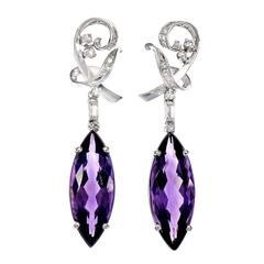 Marquise Amethyst Diamond Dangle Gold Earrings