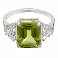 3.93 Carat Peridot Diamond Gold Engagement Ring