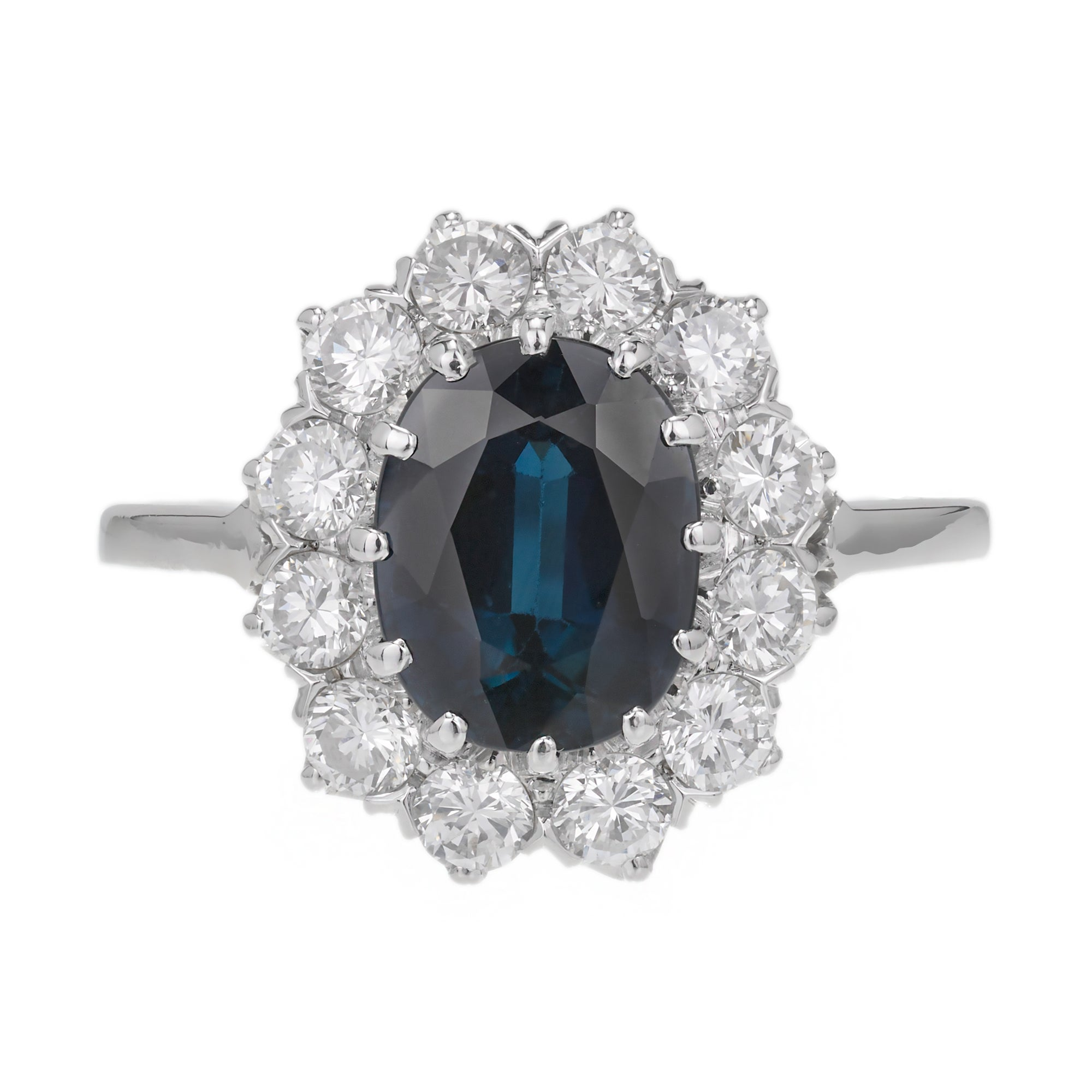 GIA Certified 3.07 Carat Blue Sapphire Diamond Halo Gold Engagement Ring