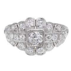 Art Deco .31 Carat Diamond Platinum Dome Ring