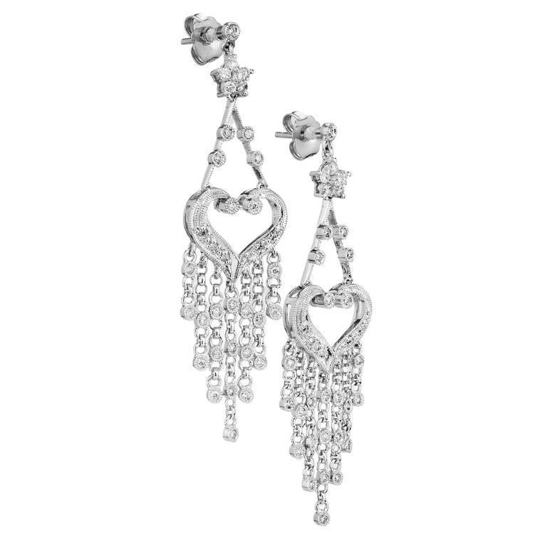 Diamond Gold Dangle Chandelier Earrings