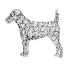 Pave Diamond Ruby Gold Pointer Dog Brooch