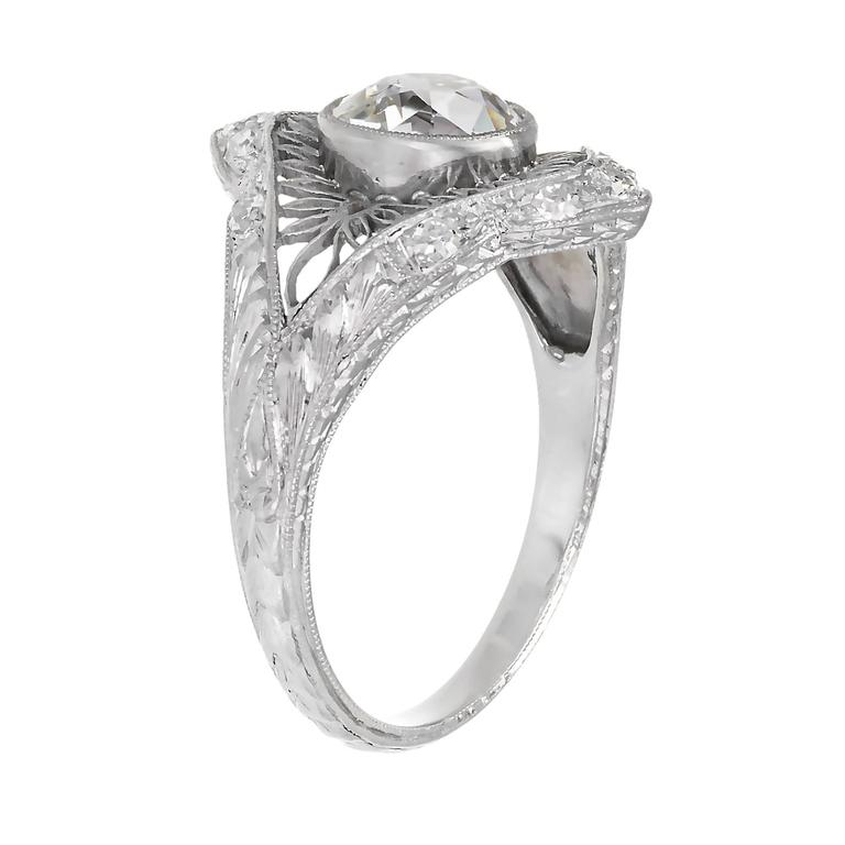 1.02 Carat GIA Certified Edwardian Diamond Platinum Engagement Ring In Good Condition For Sale In Stamford, CT