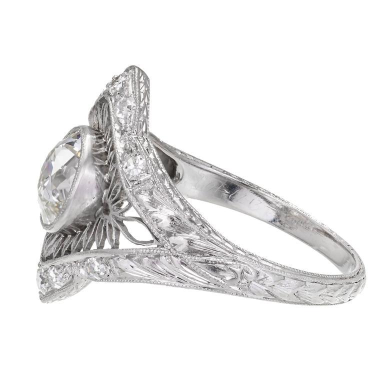 Women's 1.02 Carat GIA Certified Edwardian Diamond Platinum Engagement Ring For Sale