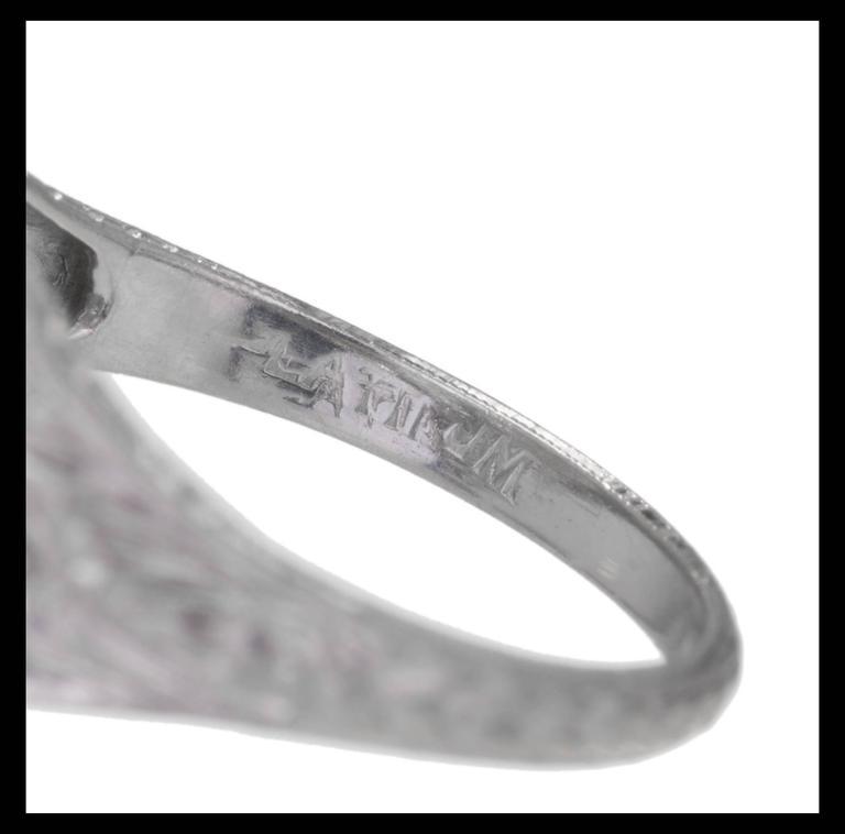 1.02 Carat GIA Certified Edwardian Diamond Platinum Engagement Ring For Sale 1