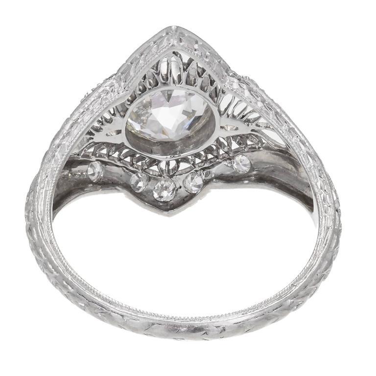 1.02 Carat GIA Certified Edwardian Diamond Platinum Engagement Ring For Sale 3
