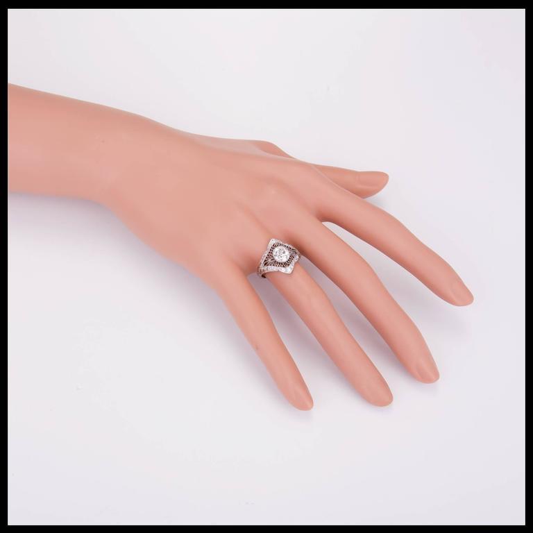 1.02 Carat GIA Certified Edwardian Diamond Platinum Engagement Ring For Sale 4