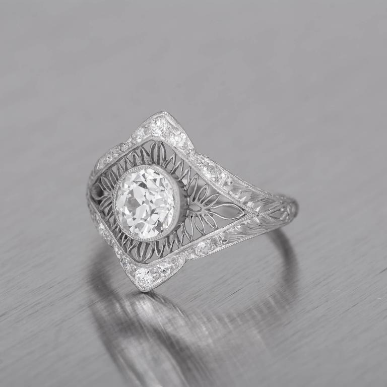 1.02 Carat GIA Certified Edwardian Diamond Platinum Engagement Ring For Sale 5
