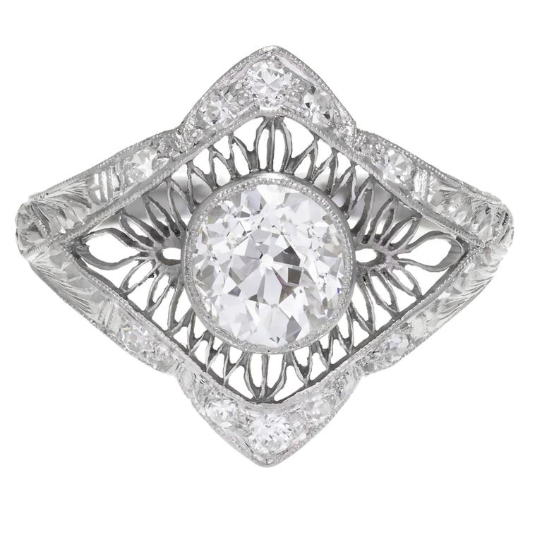 1.02 Carat GIA Certified Edwardian Diamond Platinum Engagement Ring