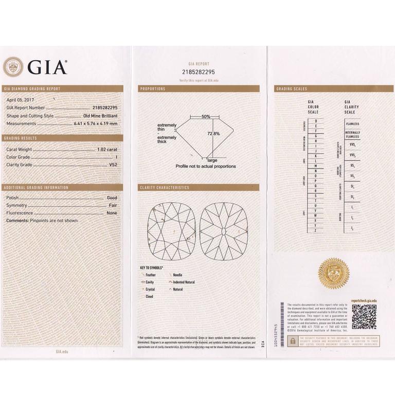 1.02 Carat GIA Certified Edwardian Diamond Platinum Engagement Ring For Sale 6