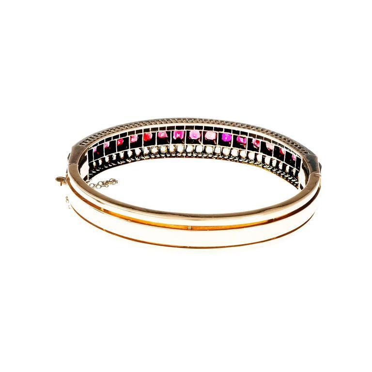 Victorian Almandine Garnet Diamond Gold Silver Bangle Bracelet In Good Condition In Stamford, CT