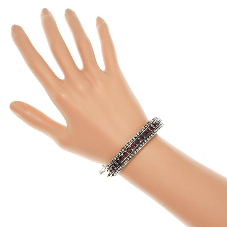 Women's Victorian Almandine Garnet Diamond Gold Silver Bangle Bracelet
