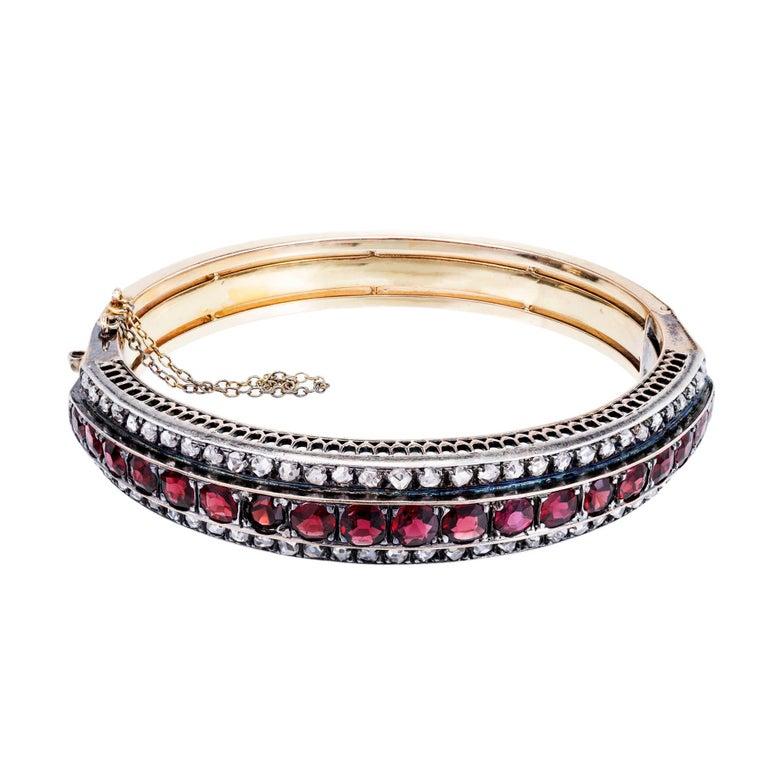 Victorian Almandine Garnet Diamond Gold Silver Bangle Bracelet