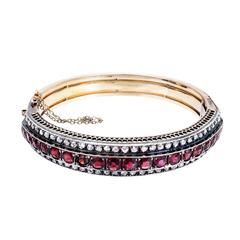 Victorian Almandine Garnet Diamond Gold Silver Bangle Bracelet