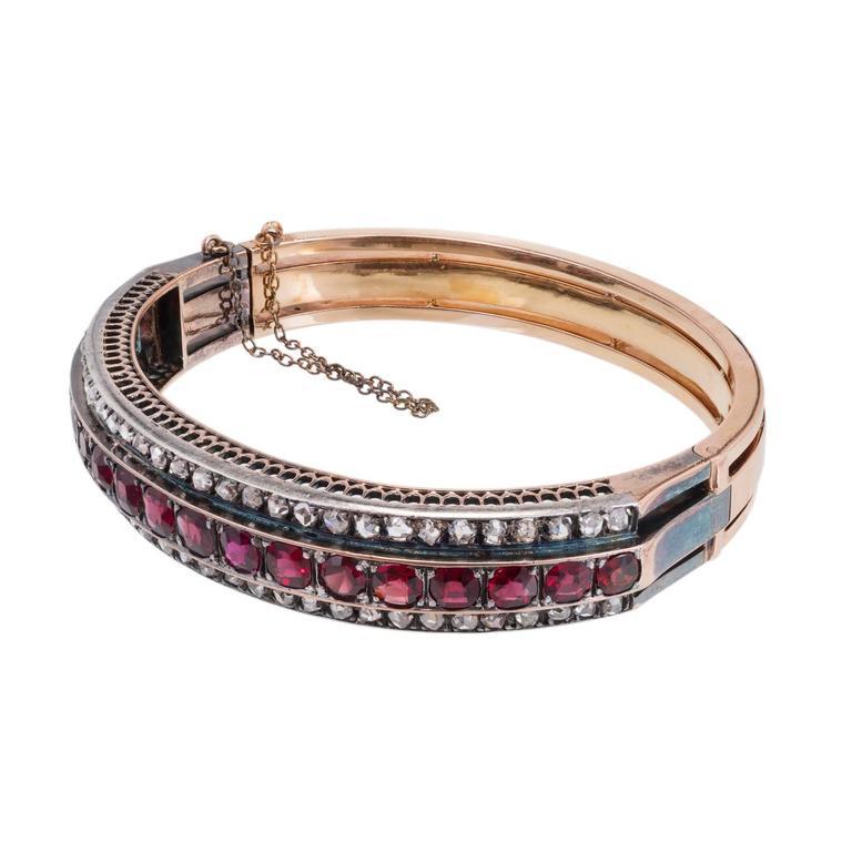 Victorian Almandine Garnet Diamond Gold Silver Bangle Bracelet 1