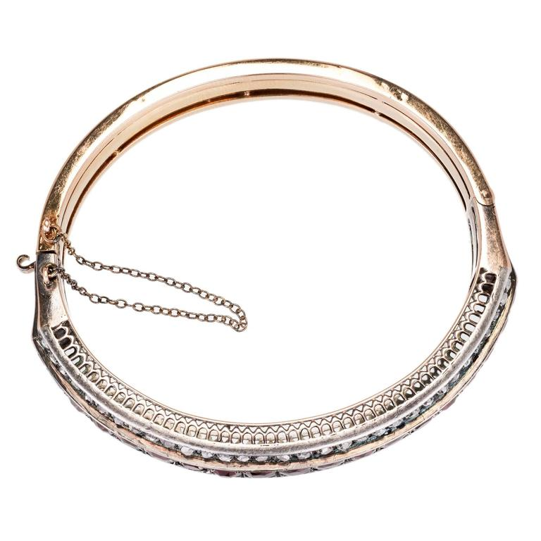 Victorian Almandine Garnet Diamond Gold Silver Bangle Bracelet 2