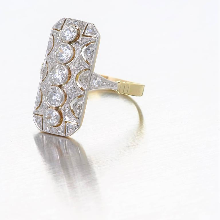 1920s Old European Cut Diamond Ring Platinum Gold Dinner Ring For Sale 3