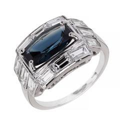 Art Deco 2.20 Carat Natural Elongated Sapphire Diamond Platinum Cocktail Ring